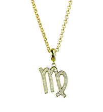 Load image into Gallery viewer, Gold & Silver Plated Virgo Horoscope Zodiac Czech Crystal Pendant Necklace