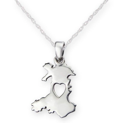 Heart of Wales 925 Sterling Silver Pendant Necklace