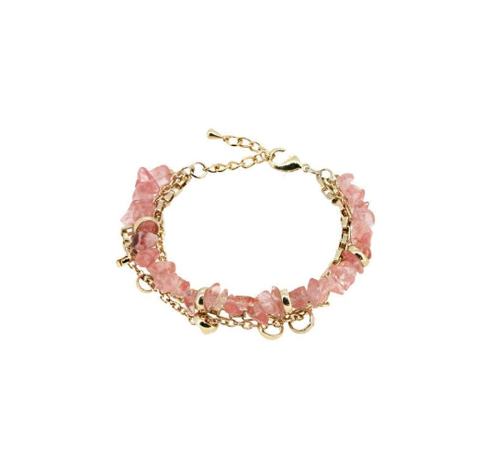 Watermelon Quartz Crystal Gold Plated Chain Wellbeing Bracelet
