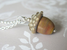 Load image into Gallery viewer, Caramel Glass Lucky Acorn Pendant Necklace