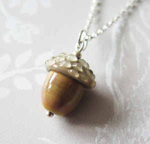 Caramel Glass Lucky Acorn Pendant Necklace