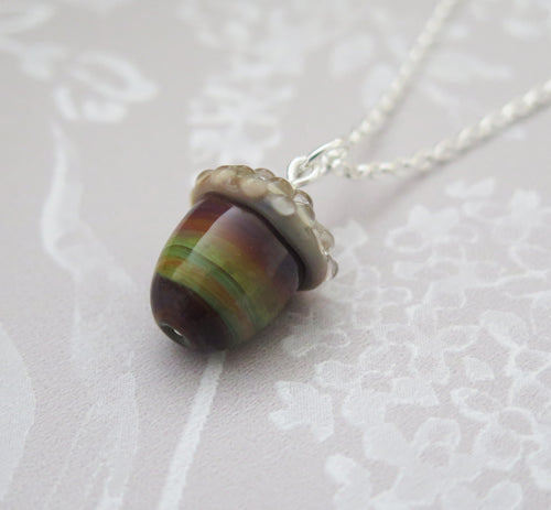 Autumn Swirl Glass Lucky Acorn Pendant Necklace