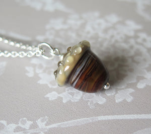 Brown Swirl Glass Lucky Acorn Pendant Necklace