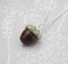Load image into Gallery viewer, Brown Swirl Glass Lucky Acorn Pendant Necklace