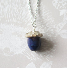 Load image into Gallery viewer, Purple Swirl Glass Lucky Acorn Pendant Necklace