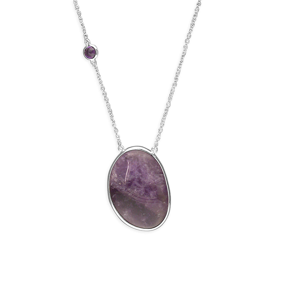 Solid 925 Sterling Silver Amethyst Healing Pendant Necklace