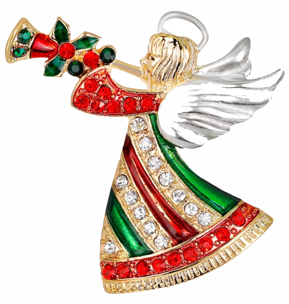 Crystal Herald Angel Christmas Brooch