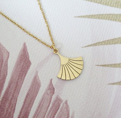 Art Deco Ginkgo Leaf Pendant Necklace