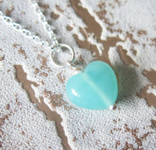Load image into Gallery viewer, Turquoise Blue Glass Lampwork Heart Pendant Necklace
