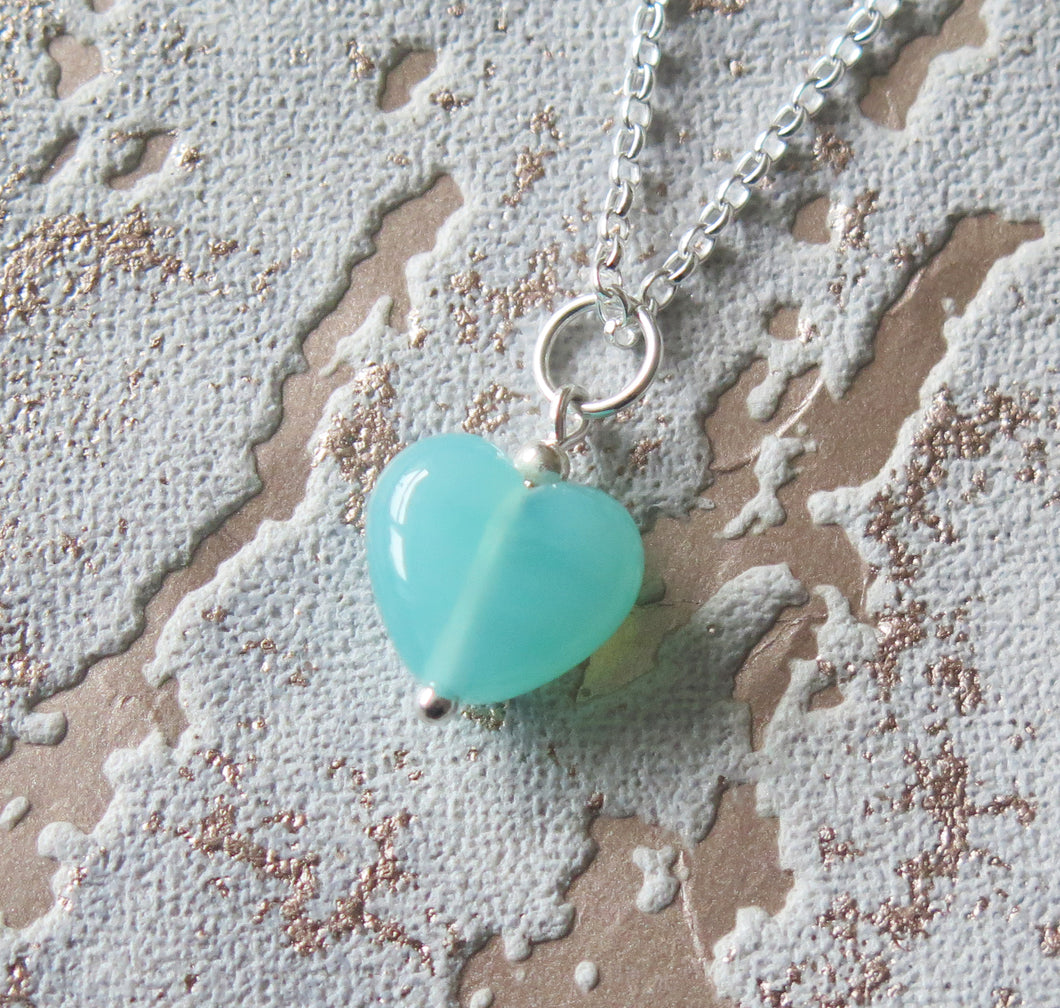 Turquoise Blue Glass Lampwork Heart Pendant Necklace