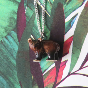 Baby Brown Bear Porcelain Pendant Necklace