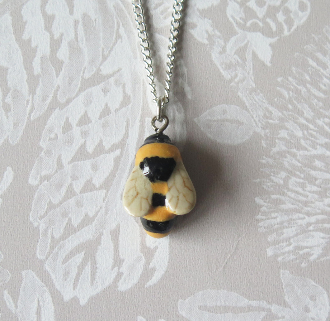 Bumble Bee Porcelain Pendant Necklace