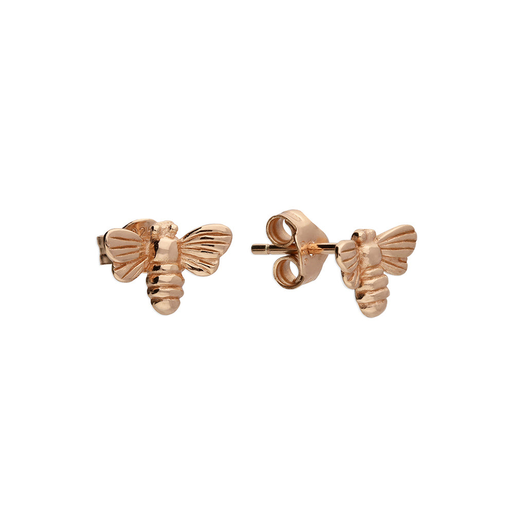 Solid 925 Sterling Silver 24k Rose Gold Plated Bumble Bee Stud Earrings