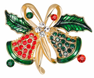 Crystal Bells Christmas Brooch