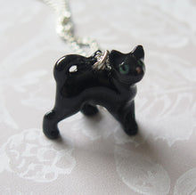 Load image into Gallery viewer, Black Cat Kitten Porcelain Pendant Necklace