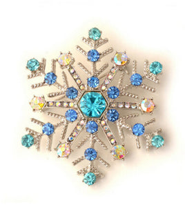 Blue Crystal Snowflake Christmas Brooch