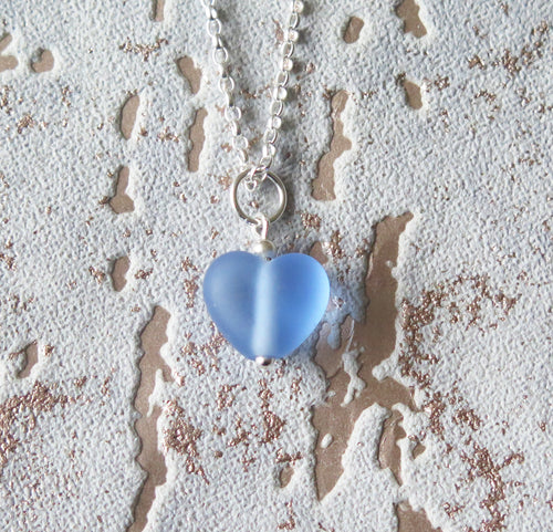 Frosted Blue Lampwork Heart Pendant Necklace