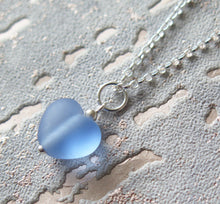 Load image into Gallery viewer, Frosted Blue Lampwork Heart Pendant Necklace