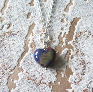 Royal Purple Marble Effect Glass Lampwork Heart Pendant Necklace