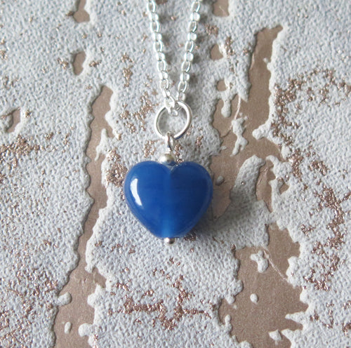 Royal Blue Glass Lampwork Heart Pendant Necklace