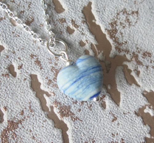 Sea Breeze Glass Lampwork Heart Pendant Necklace