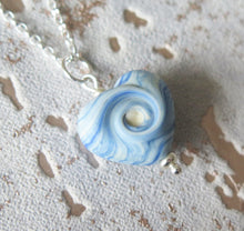 Load image into Gallery viewer, Sea Breeze Glass Lampwork Beach Wave Swirl Heart Pendant Necklace