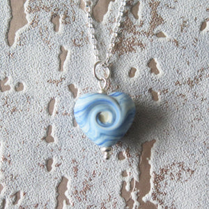 Sea Breeze Glass Lampwork Beach Wave Swirl Heart Pendant Necklace
