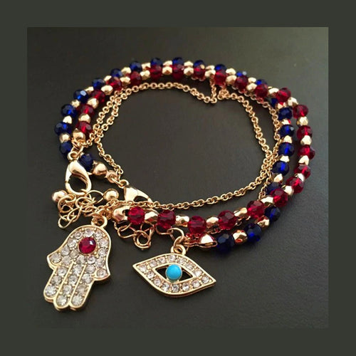 Evil Eye or Fatima Hand of God Crystal Bracelets in Blue or Red