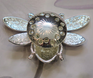 Multicoloured Bumble Bee Silver Plated Magnetic Brooch