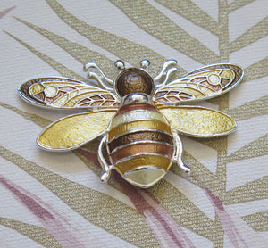 Honey Hues Silver Plated Bumble Bee Magnetic Brooch