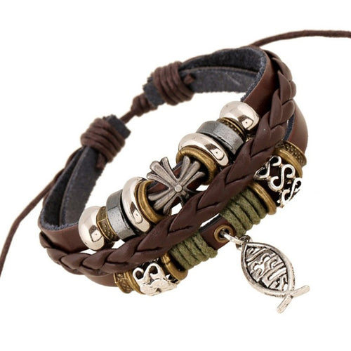 Christian Faith Ichthys Jesus Symbol Mens Leather Adjustable Bracelet in Brown or Black Leather