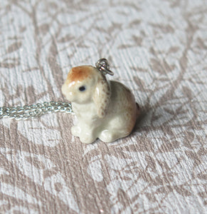 Cute Bunny Rabbit Porcelain Pendant Necklace