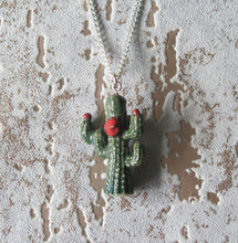 Load image into Gallery viewer, Funky Cactus Porcelain Pendant Necklace