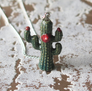 Funky Cactus Porcelain Pendant Necklace