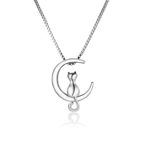 Lucky Cat on the Moon 18K Rose Gold and Silver Plated Pendant Necklace