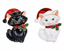 Load image into Gallery viewer, Crystal Cat in Black or White Christmas Brooch