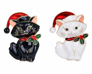 Crystal Cat in Black or White Christmas Brooch