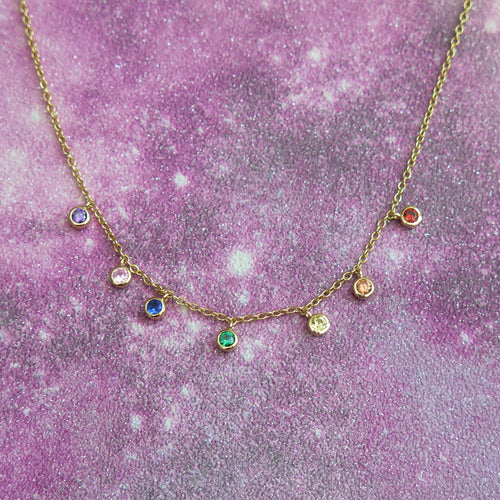 Sterling Silver 24k Gold Plated Chakra Crystal Pendant Necklace