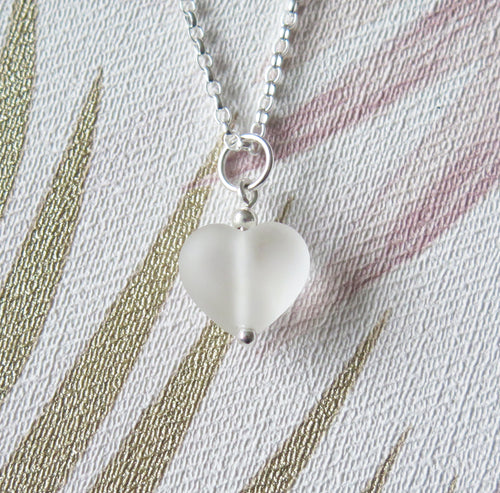 Frosted Clear Lampwork Heart Pendant Necklace