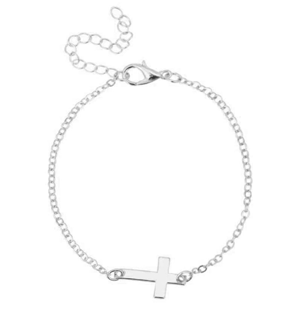 Christian Faith Jesus Cross Silver Plated Bracelet