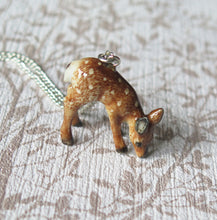 Load image into Gallery viewer, Baby Deer Porcelain Pendant Necklace