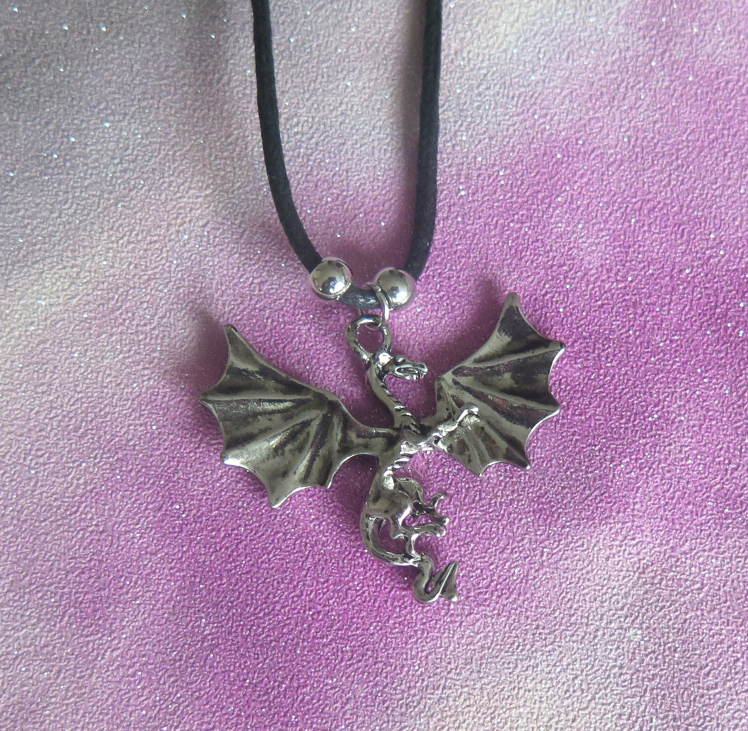 Open-Winged Mythical Dragon Pendant Necklace