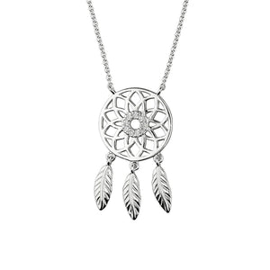 Lucky 925 Sterling Silver Crystal Dream Catcher Pendant Necklace