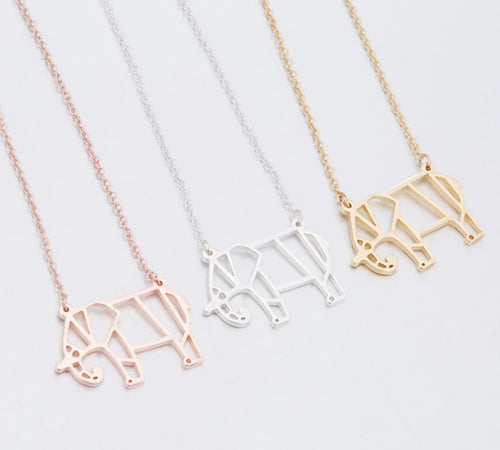 Rose Gold, Gold and Silver Plated Lucky Elephant Origami Pendant Necklace