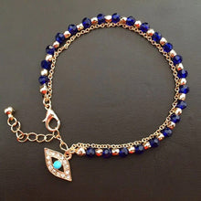 Load image into Gallery viewer, Evil Eye or Fatima Hand of God Crystal Bracelets in Blue or Red