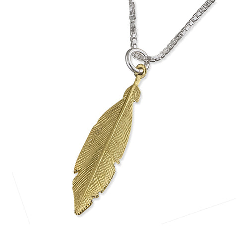 Spiritual Feather Solid 925 Sterling Silver 24k Gold Plated Pendant Necklace
