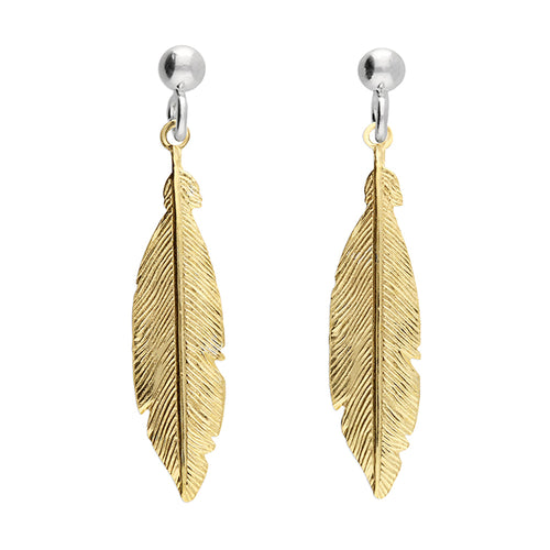 Spiritual Feather Solid 925 Sterling Silver 24k Gold Plated Earrings