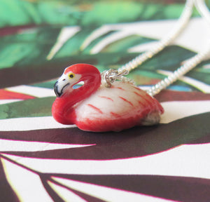 Flamingo Porcelain Pendant Necklace