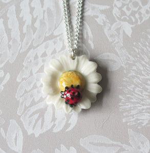 Ladybird Daisy Flower Porcelain Pendant Necklace