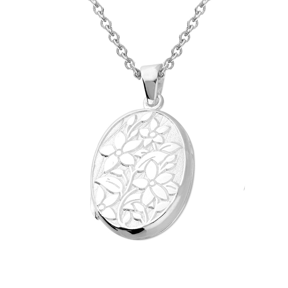 Solid 925 Sterling Silver Flower Keepsake Locket